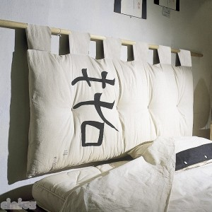 Futon Headboard, ecrù body with ecrù loops and ideogram