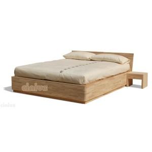 Box bed in solid beech wood, with slats