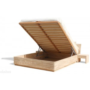 Box bed of solid beech wood with liftable slats