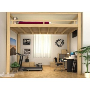 RISING sleeping loft bed with electrically adjustable height