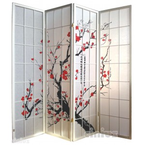 Screen, white color with cherry blossom decoration