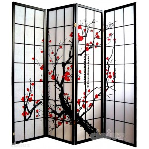 Screen, black color with cherry blossom decoration