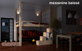 Lit RISING - UP & DOWN . Mezzanine réglable en hauteur. Position nuit. Lit escamotable